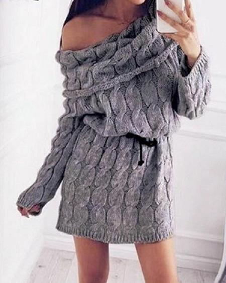 boutiquefeel / High Neck Mohair Sweater Dress