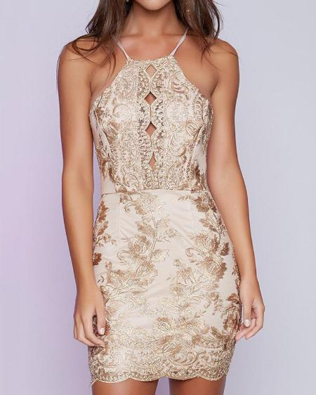 boutiquefeel / Sexy Spaghetti Strap Embroided Backless Cocktail Bodycon Dress