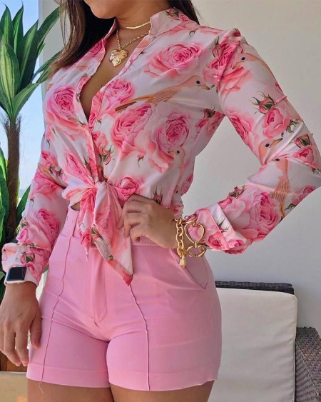 Floral Print Long Sleeve Drawstring Hem Loose Blouse