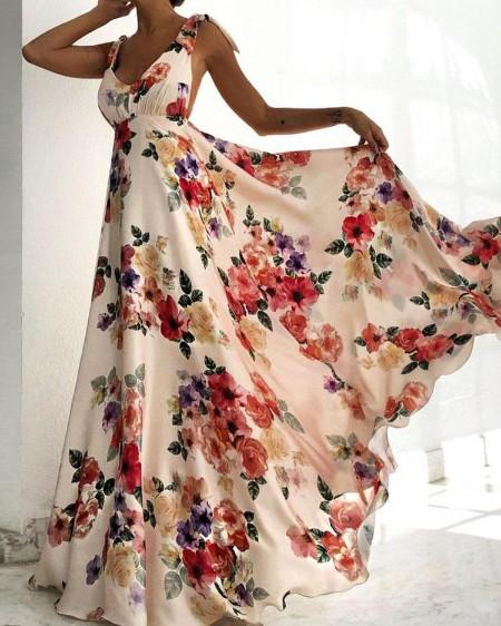 Floral Print Tied Shoulder Backless Maxi Dress