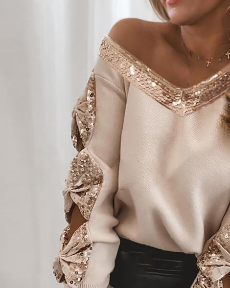 Sequins Bowknot Cutout Sweater