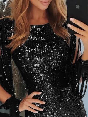 Tassel Detail Sequin Party Dress