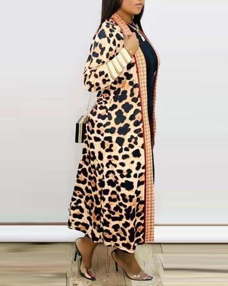Plus Size Cheetah Camouflage Print Longline Coat