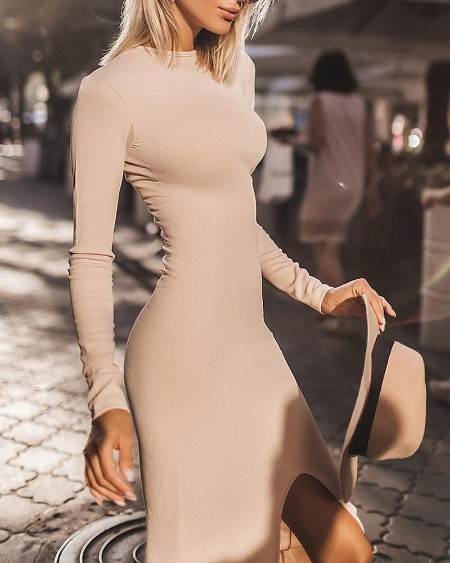 Solid Long Sleeve Bodycon Slit Dress