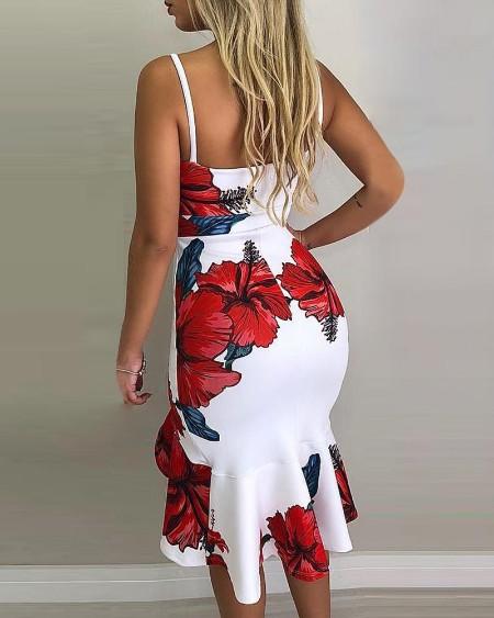 Spaghetti Strap Floral Print Slit Ruffles Dress