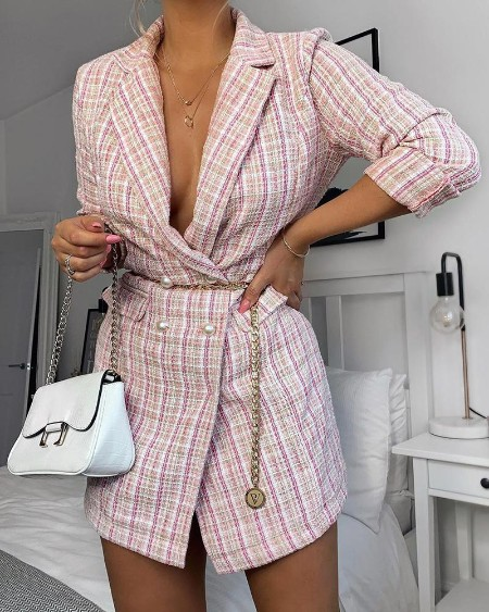 boutiquefeel / Deep V Button Up Blazer Dress