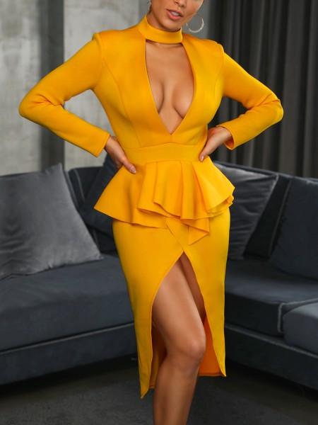 Choker V Flounced Tulip Hem Belted Dress