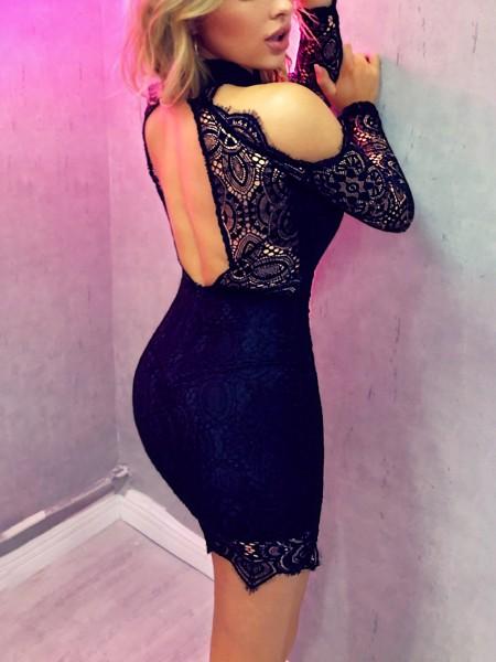 Eyelash Lace Cold Shoulder Bodycon Dress
