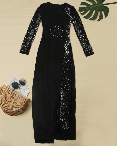Studded Sheer Mesh Jumpsuit With Dress