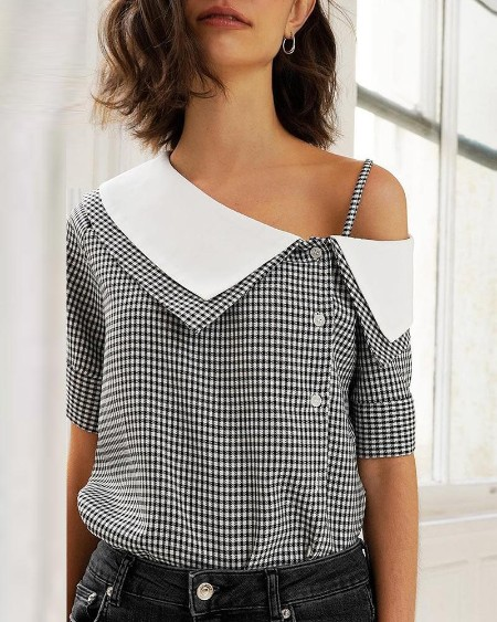 boutiquefeel / Grid Print Oblique Placket Casual Blouse
