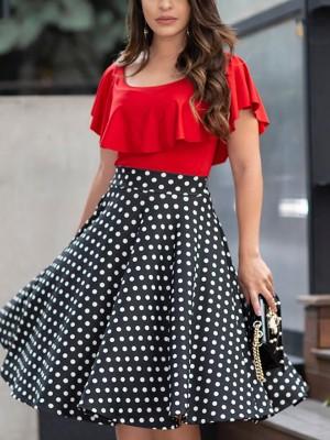 Ruffles Dot Splicing Pleated Casual Dress