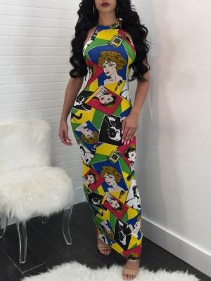 Fashion Digital Print Backless Bodycon Dress
