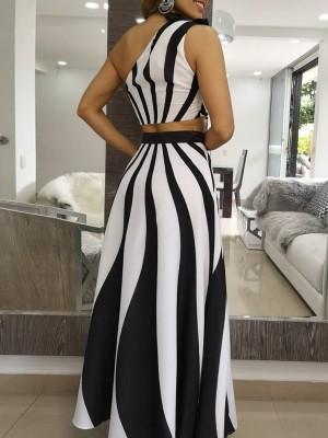 Contrast Wave Stripes Crop Top & Maxi Skirt Set