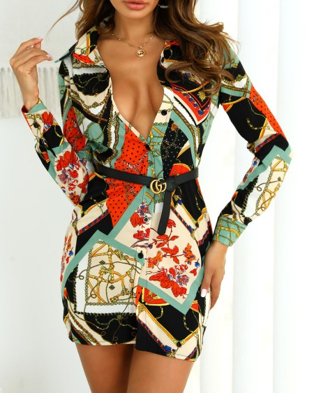 Mixed Chain Print Button Up Shirt Dress
