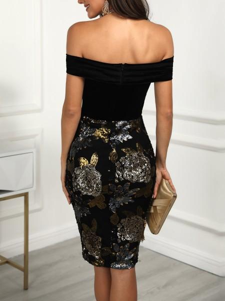 Floral Embroidery Off Shoulder Sequin Dress