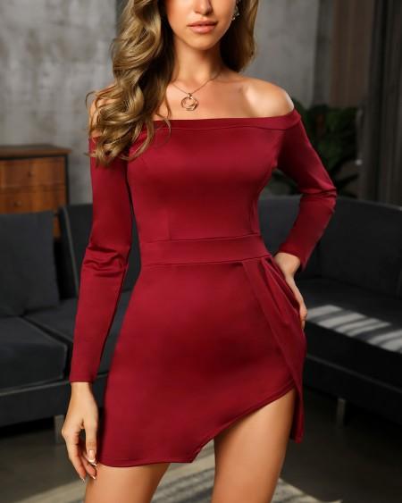 boutiquefeel / Off Shoulder Long Sleeve Slit Bodycon Dress(Without Belt)
