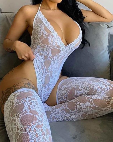 Crochet Lace Halter Teddy With Stockings