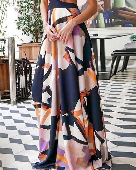 boutiquefeel / Plunge Print Cutout Waist Maxi Dress