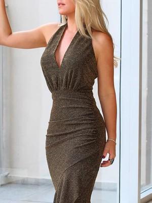 Halter Ruffles Design Glitter Party Dress