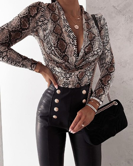 Snakeskin Long Sleeve Loose Blouse