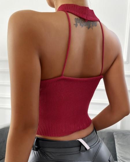 Cutout Backless Knit Crop Tank Top