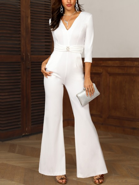 Solid V-Neck Metallic Embellished Pocket Jumpsuit
