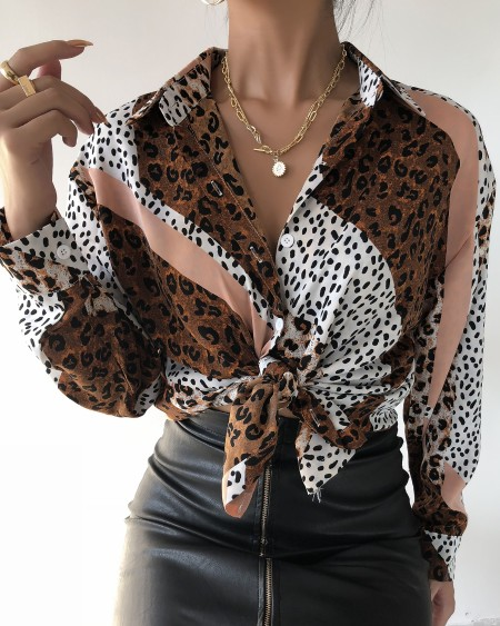 Leopard Print Tie Neck Casual Shirt