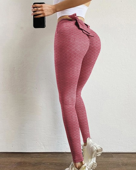 Plain Bowknot Design Cut-out Skinny Sporty Pants