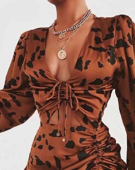 Leopard Drawstring Design Ruffles Dress