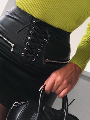 Lace Up Zip Detail PU Mini Skirt