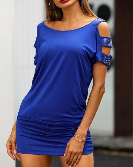 boutiquefeel / Studded Cutout Short Sleeve T-shirt Dress