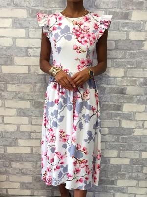 Floral Print Flutter Sleeve Casual Dress