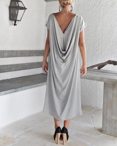 Short Sleeve Cowl Neck Maxi Dress