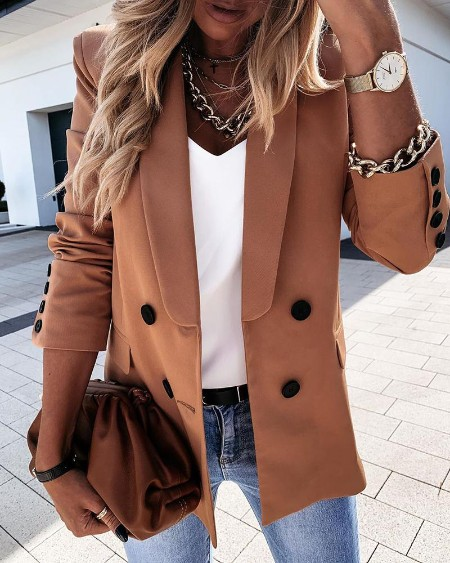 Plain Long Sleeve Double Breasted Blazer Coat