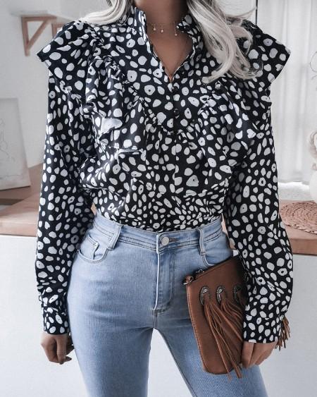 boutiquefeel / Ruffles Hem Button Design Long Sleeve Blouse