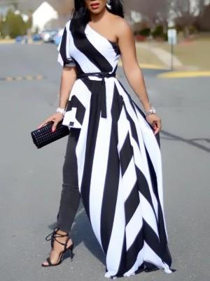 One Shoulder Contrast Striped Asymmetric Blouse