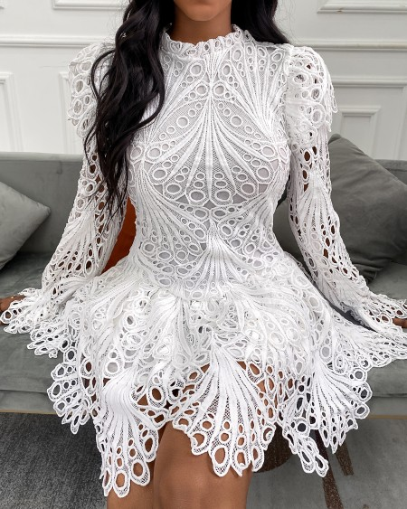 Eyelet Embroidery Bell Sleeve Lace Dress