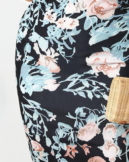 boutiquefeel / Floral Print Twist Front Bodycon Irregular Dress