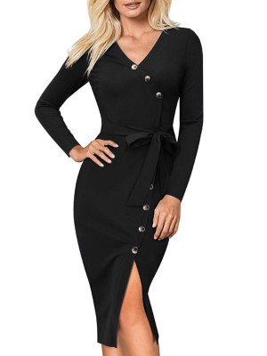 Button Detail Wrap Slit Belted Dress
