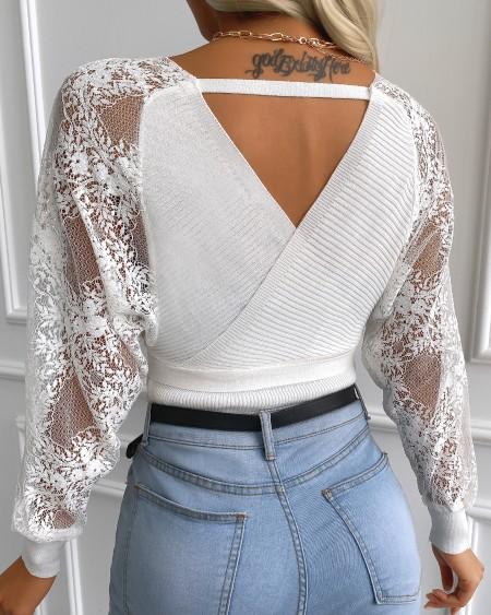 Cutout Back Lace Surplice Long Sleeve Knit Top