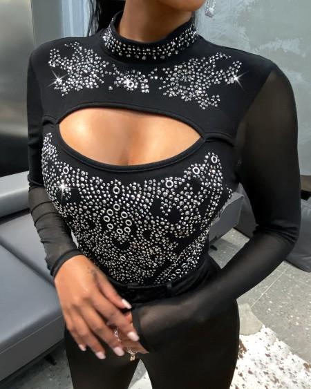 Studded Sheer Mesh Cutout Bodysuit