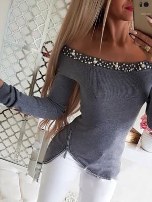 Off Shoulder Beaded & Zipper Design Top
