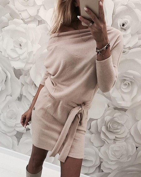 Solid Skew Neck Long Sleeve Dress