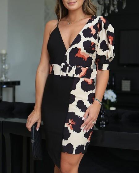 One Shoulder Leopard Print Insert Bodycon Dress