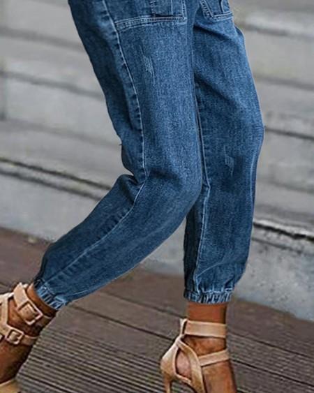 Drawstring Pocket Design Casual Jeans