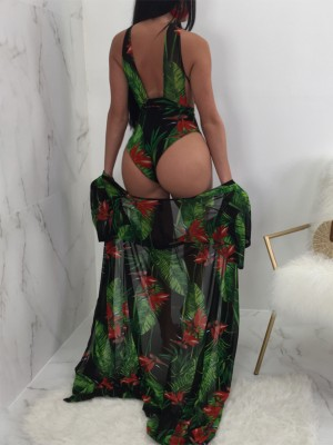 Sexy Cut out Front Cover Ups Swimwear Set