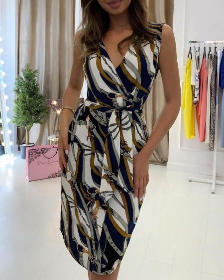 Sleeveless Print V-Neck Wrap Casual Dress