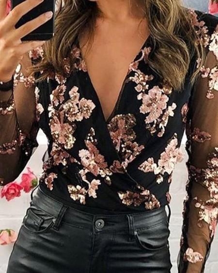 V Neck Floral Mesh Sleeve Top