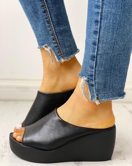 Peep Toe Muffin Wedge Sandals