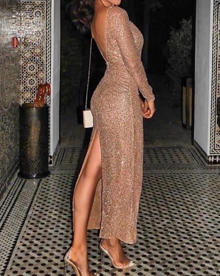 Zip Back Sequin Slit Dress